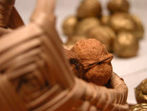 Walnuts. Basket filled with walnuts. Golden walnuts next to the basket stock photo