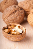Walnuts. Some walnuts on the table Royalty Free Stock Photography