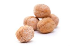 Walnuts. Close-up of a walnut against white background Stock Image