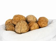 Walnuts. Close-up of walnuts in cotton bag Royalty Free Stock Photography
