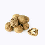 Walnuts. Heap of walnuts on white background stock photography