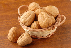 Walnuts. Macro view of  walnuts in the basket Royalty Free Stock Photos