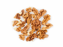 Walnuts. Raw walnuts on white background Stock Images