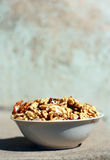 Walnuts. Bowl with fresh mature walnuts Royalty Free Stock Image
