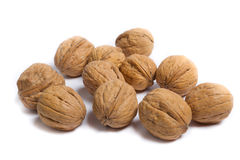 Walnuts. Some walnuts on white background Royalty Free Stock Photography