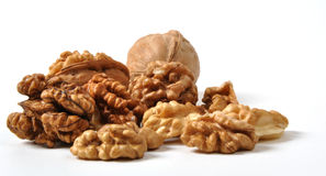 Walnuts. Brown walnuts  on white background Stock Photos