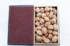 Walnuts. Nuts in an open box Stock Photos