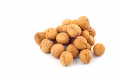 Walnuts. On the white background stock photos