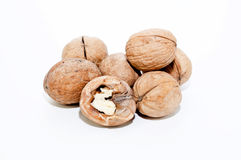 Walnuts. In a grid with beige bow Royalty Free Stock Photography