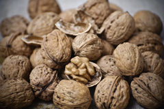 Walnuts. In shell in a linen cloth Stock Image