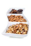 Walnuts almonds and dates in a white dish Stock Photography