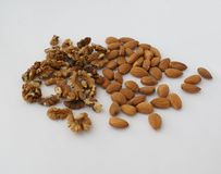 Walnuts and almonds. walnut and almond. mixed nuts Royalty Free Stock Photography