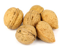 Walnuts and almonds on a white background Royalty Free Stock Images
