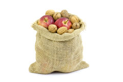 Walnuts and apples Stock Photo