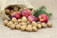 Walnuts and apples Royalty Free Stock Photography