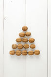 Walnuts arranged in a pyramid form Stock Photography