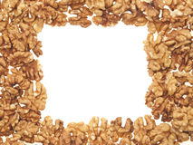 Walnuts as a frame. Royalty Free Stock Images