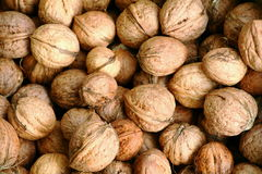 Walnuts background. Background of pile walnuts in shells Royalty Free Stock Photography