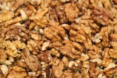 Walnuts. Background. Close-up. Full frame royalty free stock image