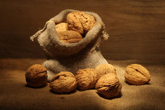 Walnuts in bag Stock Images