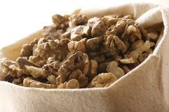 Walnuts in bag Royalty Free Stock Photo