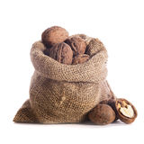 Walnuts in bag Royalty Free Stock Image