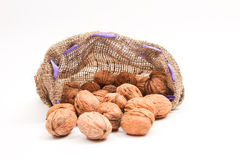 Walnuts in a bag Royalty Free Stock Photos