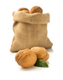 Walnuts in bag on white background Stock Photo