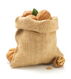 Walnuts in bag on white background Stock Photography