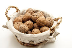 Walnuts in the basket Royalty Free Stock Photo