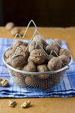 Walnuts in a basket Royalty Free Stock Images
