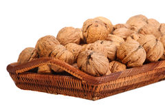 Walnuts in the basket Royalty Free Stock Photos