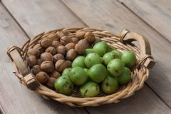Walnuts in a basket Royalty Free Stock Image