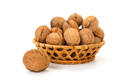 Walnuts in a basket Stock Photo