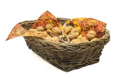 Walnuts in a basket Royalty Free Stock Photos