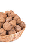 Walnuts on basket Royalty Free Stock Photos