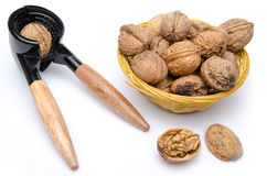 Walnuts in a basket with a nutcracker Stock Images