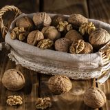 Walnuts in a basket royalty free stock photo