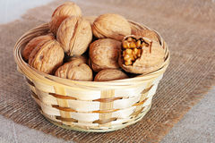 Walnuts in basket Royalty Free Stock Image