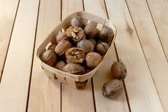 Walnuts in a basket Royalty Free Stock Photography