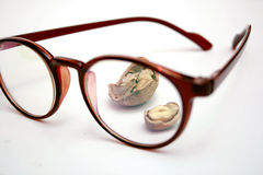 Walnuts behind the Glasses Royalty Free Stock Photography