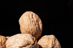 Walnuts on black background Royalty Free Stock Photography