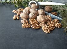 Walnuts on a black background, walnut kernels. Healthy food from walnut royalty free stock image