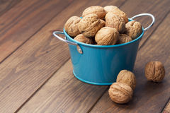 Walnuts in a blue bucket Stock Images
