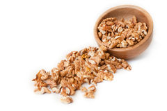 Walnuts in a bowl. On white background Royalty Free Stock Photos