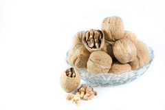 Walnuts in a bowl with isolate  background Royalty Free Stock Image