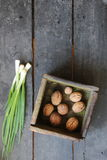 Walnuts in a box and Fresh Spring Onions on the farmers market. Stock Image