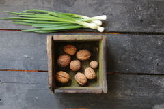 Walnuts in a box Fresh Spring Onions on the farmers market. Stock Image