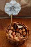 Walnuts in a brown kraft paper bag Stock Photography