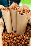 Walnuts in a brown kraft paper bag Royalty Free Stock Photos